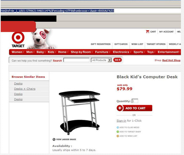 black kids computer desk